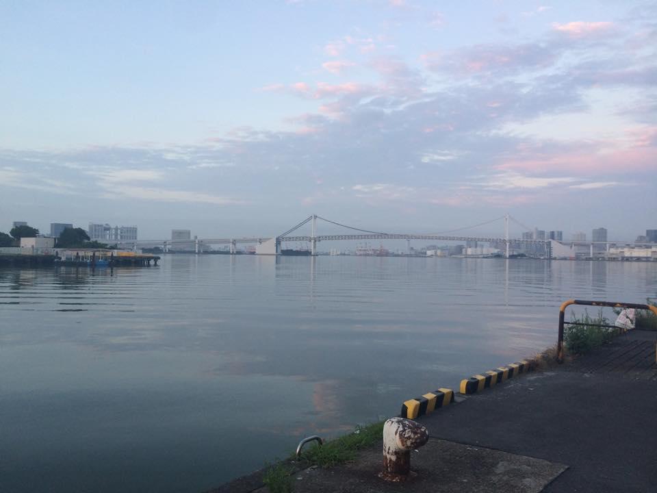 豊海水産埠頭からレインボーブリッジを望む