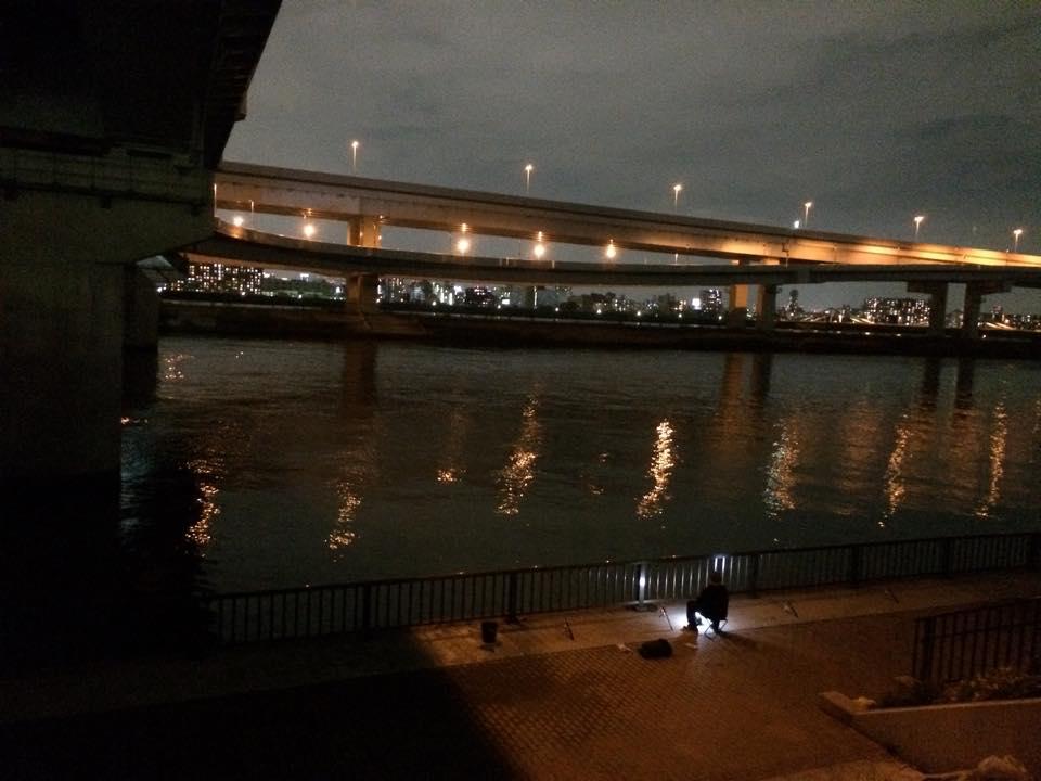 堤防上からポイントを眺める