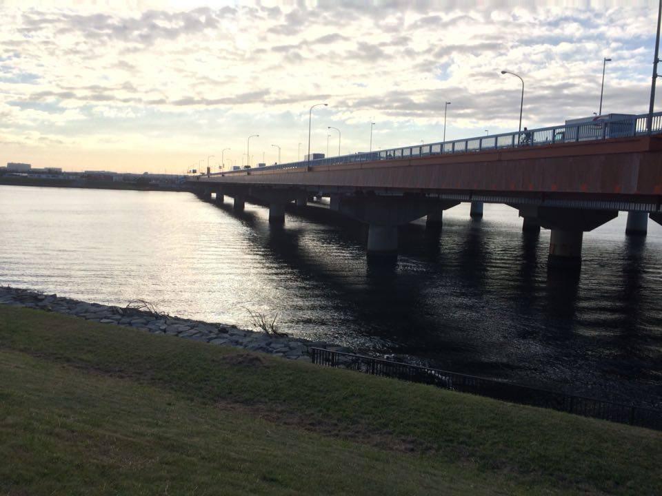 堤防の上から舞浜大橋を望む