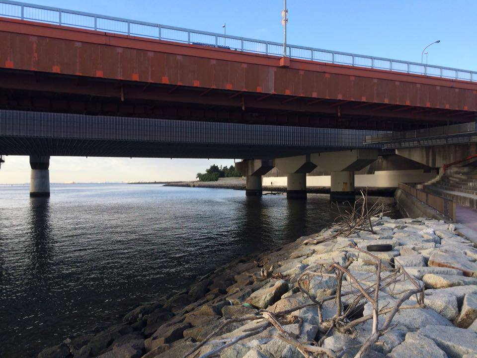 舞浜大橋橋脚の下