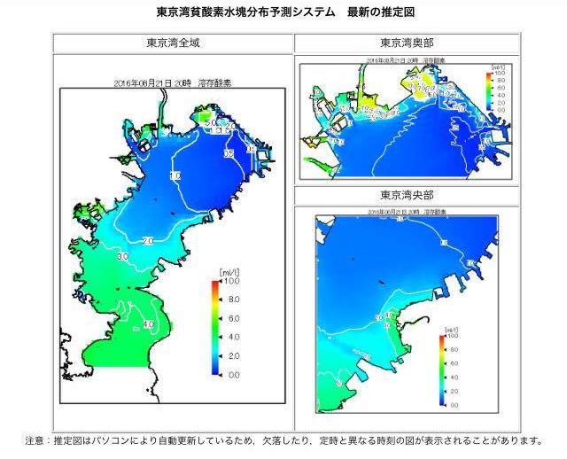 東京湾の溶存酸素量が分かる